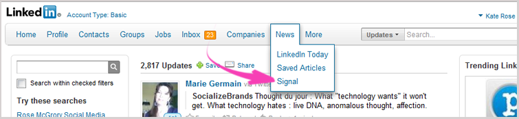 LinkedIn - Search using Signal