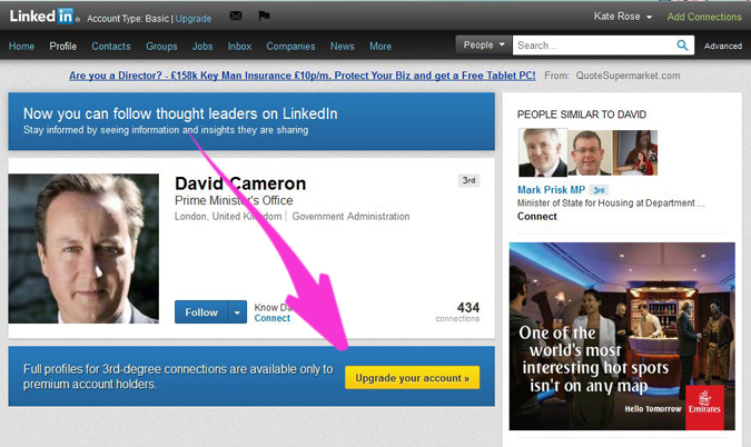 LinkedIn 3rd level profile