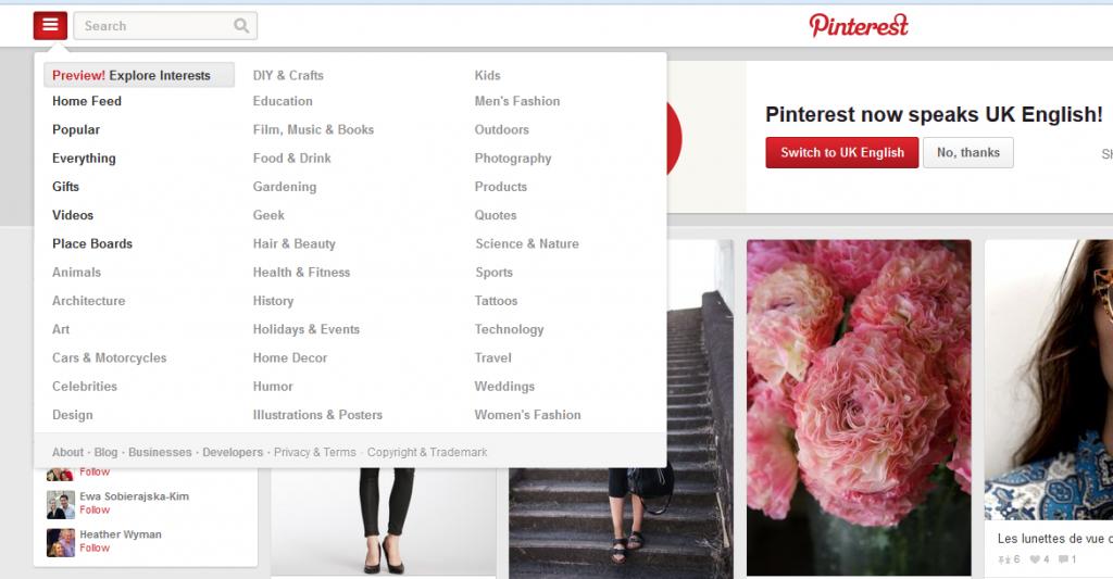 Pinterest interests