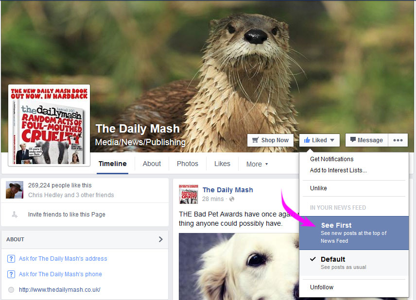 Controlling Facebook news feed 3