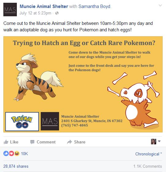 Facebook Animal Shelter Pokemon post